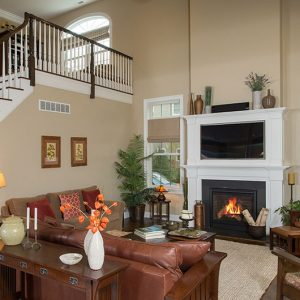 Great room with fireplace in new construction home from Dutchess County home builder LMD Homes