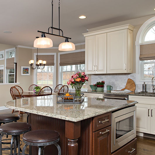 Gourmet kitchen island in Hudson Valley custom new home at Sleight Farm in Poughkeepsie NY
