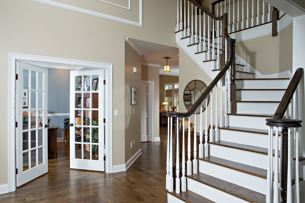 Grand staircase at luxury new home at Sleight Farm in Hudson Valley NY