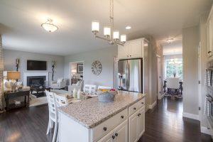 Kitchen island in open floor plan new construction home at Sleight Farm in Hudson Valley NY