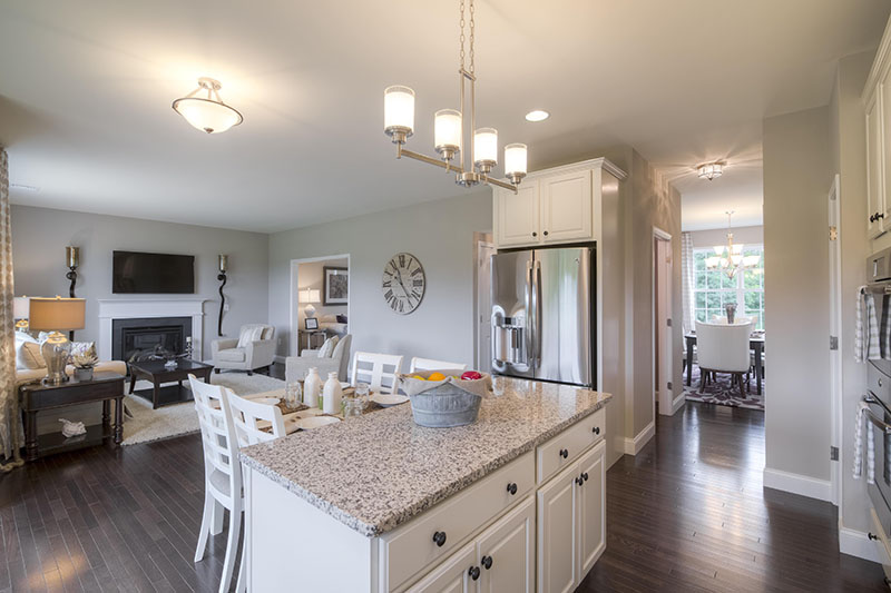 Kitchen island in New home in the Hudson Valley's Sleight Farm at LaGrange, located in Dutchess County