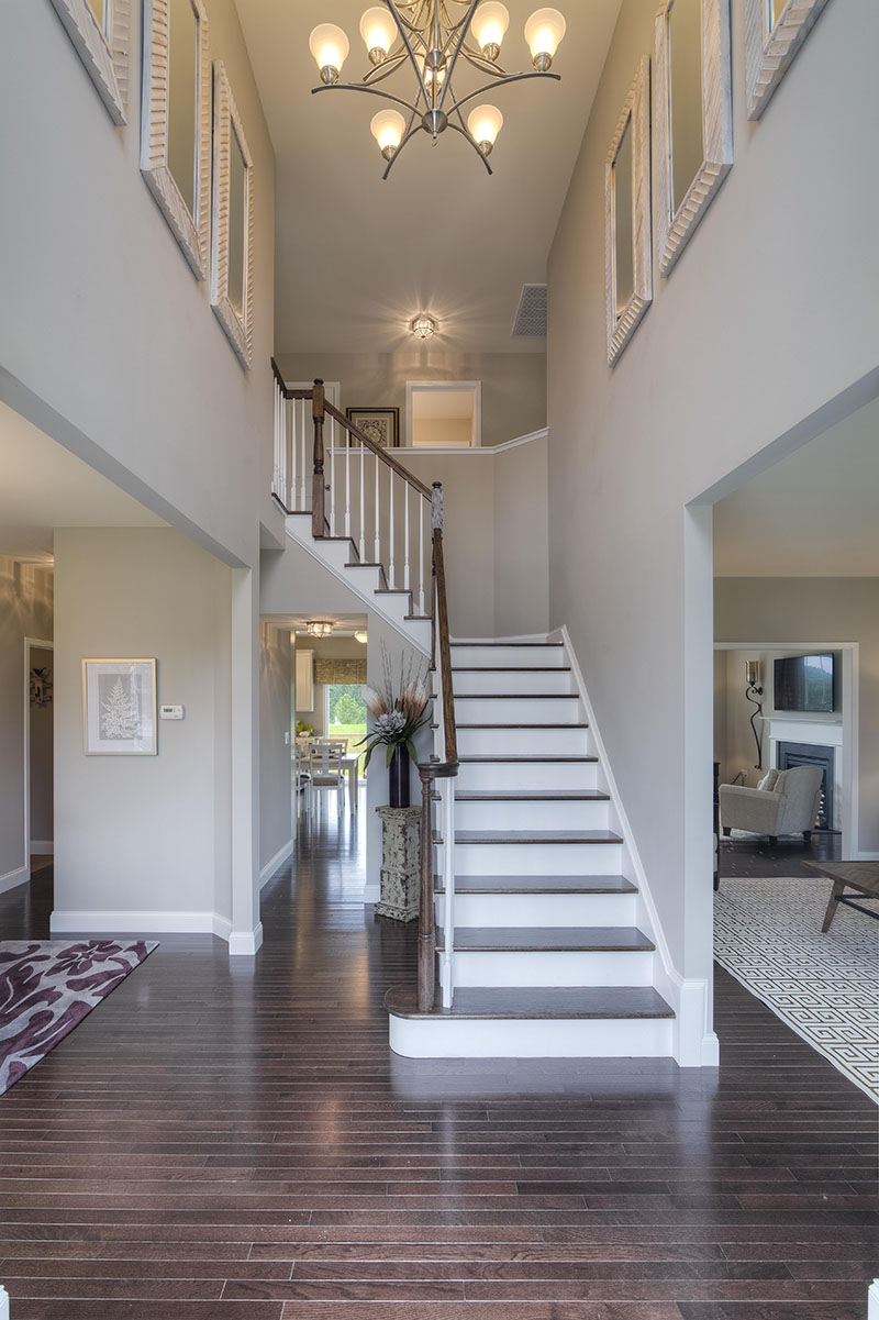 Stairwell in open floor plan new construction home at Sleight Farm in Dutchess County NY