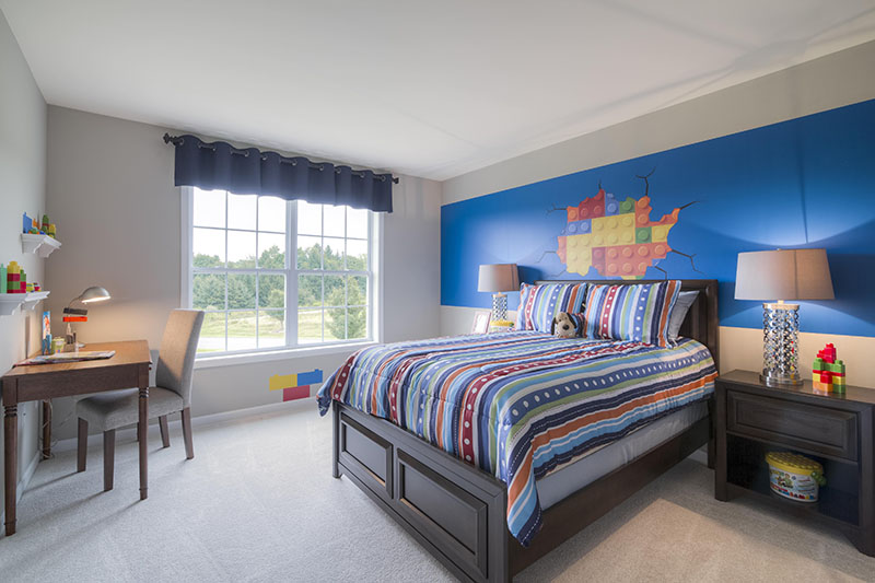 Boys' bedroom with Lego theme in new construction home at Sleight Farm in Dutchess County NY