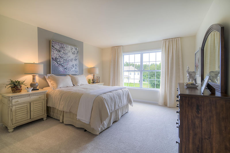 Master bedroom in custom new home in Dutchess County, Hudson Valley, Upstate NY