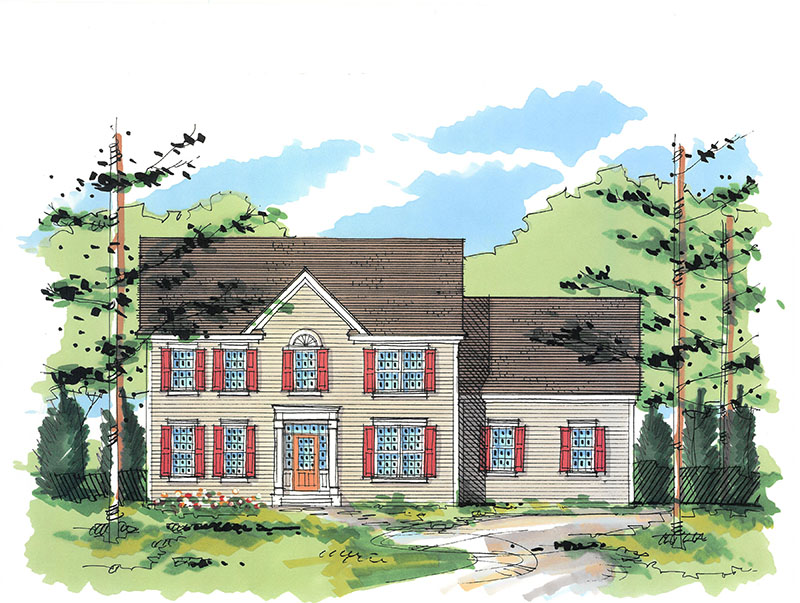 Illustrated model for one of the new homes in Dutchess County's Sleight Farm at LaGrange, located in the Hudson Valley