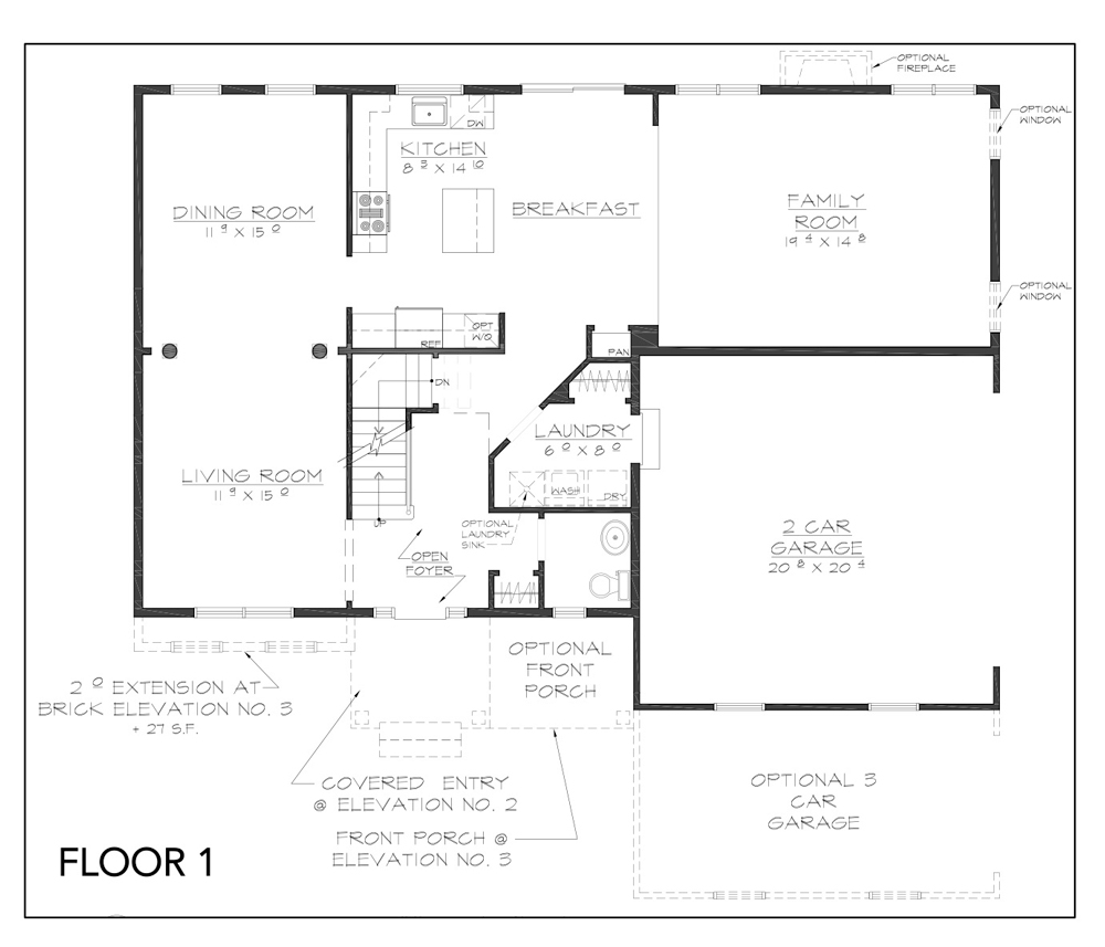 Blueprint for Copake Floor Plan Floor 1 at new custom home community Sleight Farm in Dutchess County