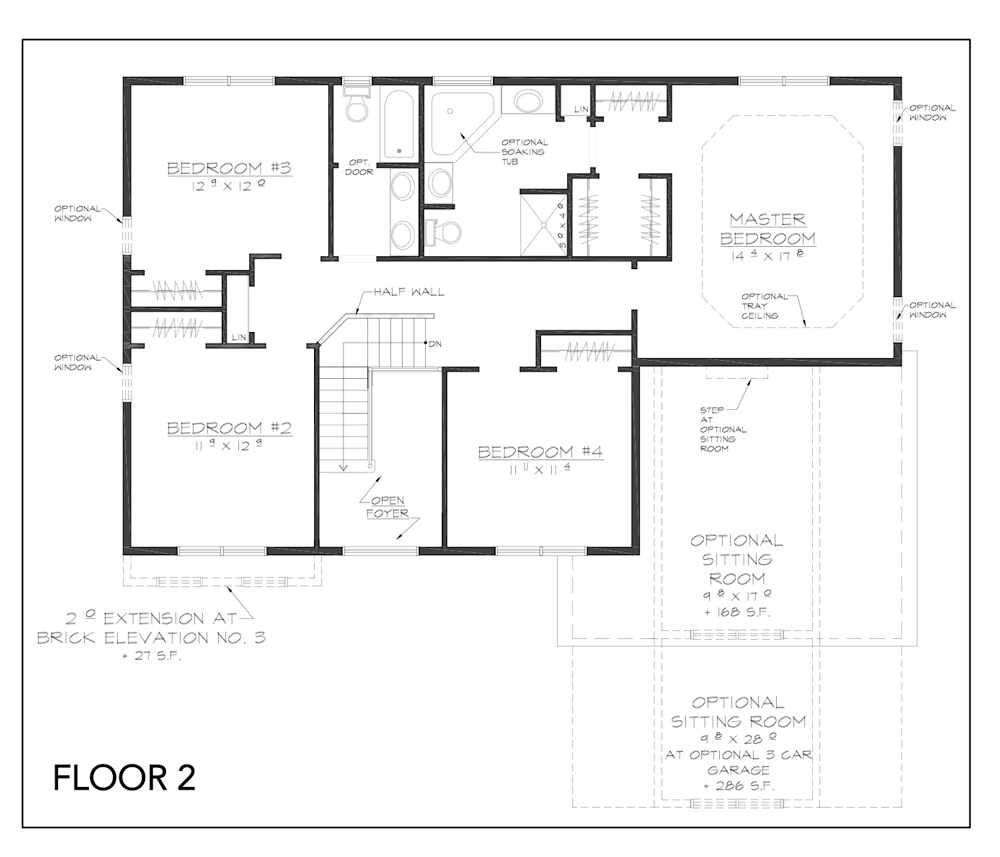 Blueprint for Copake Floor Plan Floor 2 at new custom home community Sleight Farm in Dutchess County