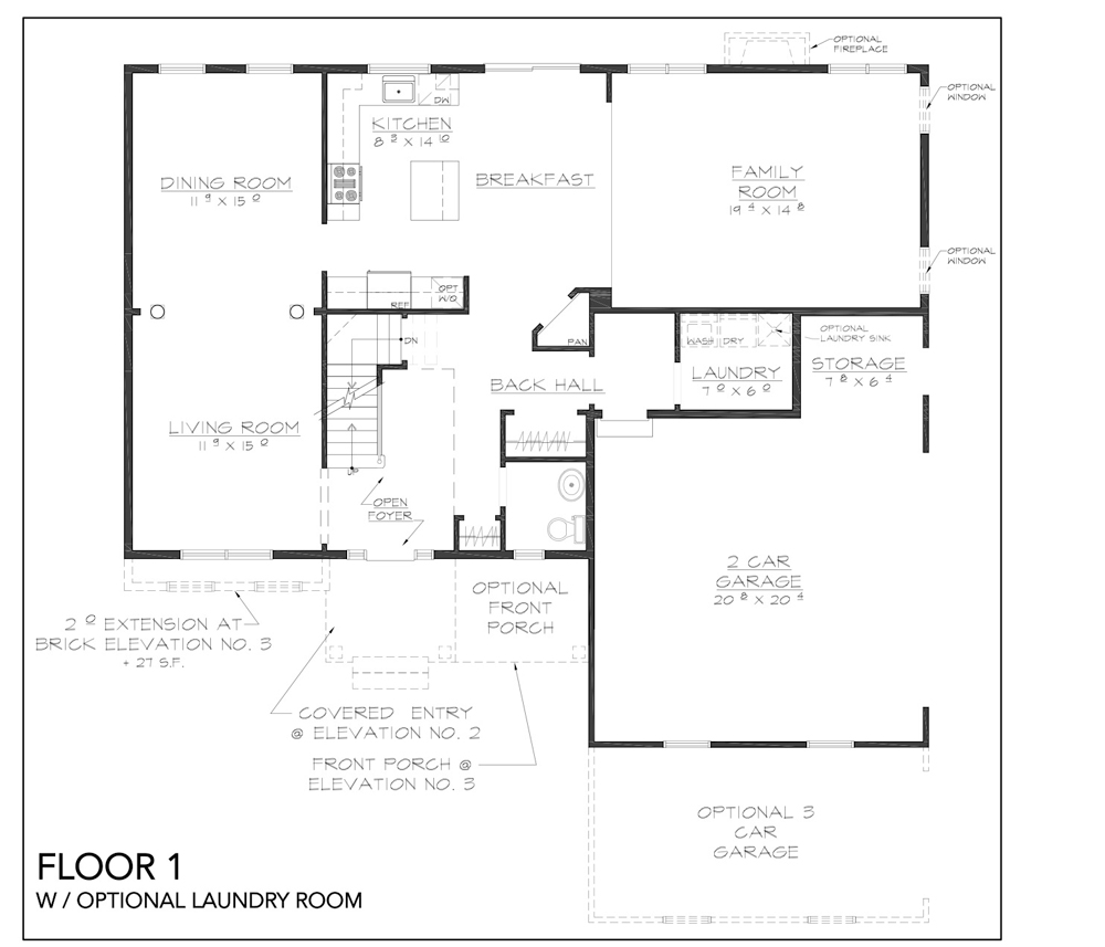 Blueprint for Copake Floor Plan Floor 1 with optional laundry room at new custom home community Sleight Farm in Dutchess County