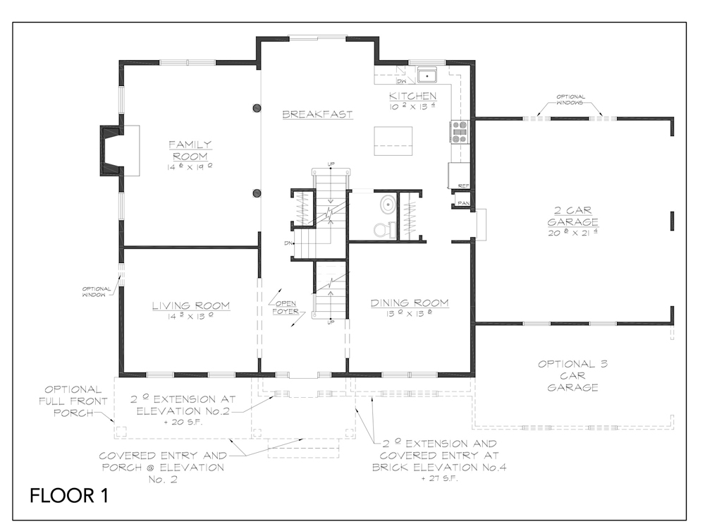 Blueprint for Essex floor plan floor 1 at new custom home community Sleight Farm in Dutchess County