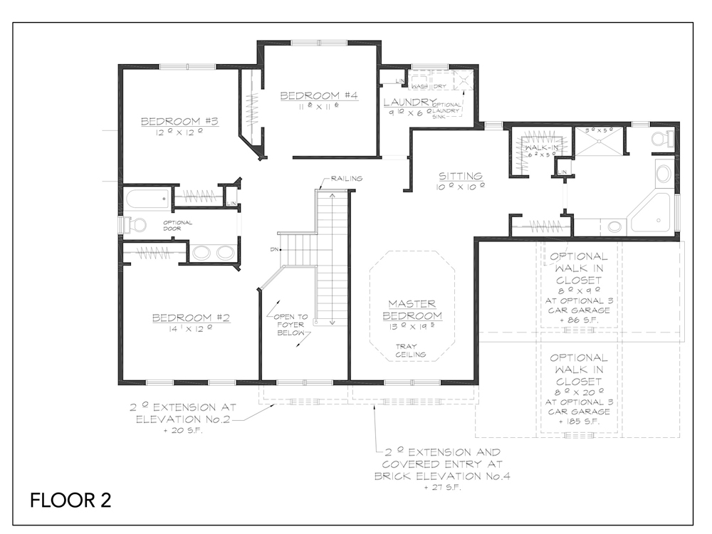 Blueprint for Essex floor plan floor 2 at new custom home community Sleight Farm in Dutchess County