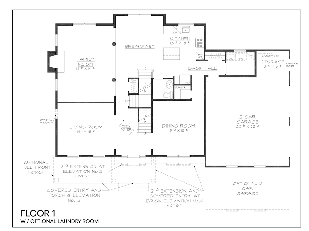 Blueprint for Essex floor plan floor 1 with optional laundry room at new custom home community Sleight Farm in Dutchess County