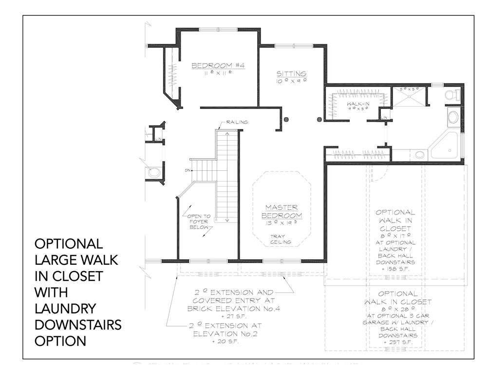 Blueprint for Essex floor plan optional large walk in closet with laundry downstairs option at new custom home community Sleight Farm in Dutchess County