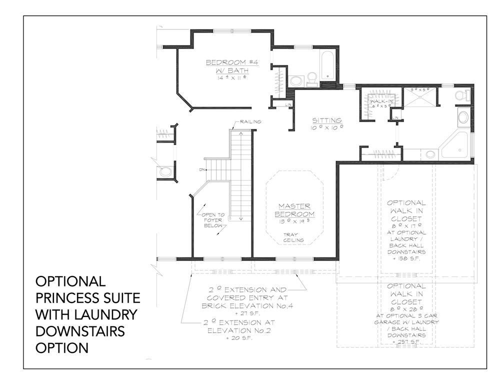 Blueprint for Essex floor plan optional princess suite with laundry downstairs option at new custom home community Sleight Farm in Dutchess County