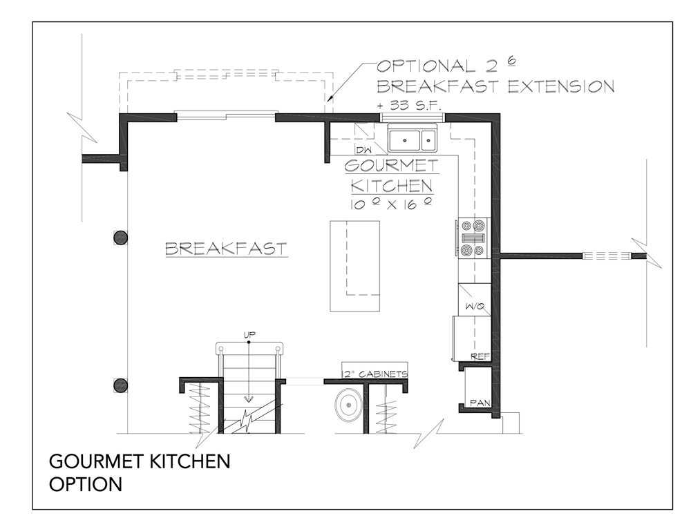 Blueprint for Essex floor plan gourmet kitchen option at new custom home community Sleight Farm in Dutchess County