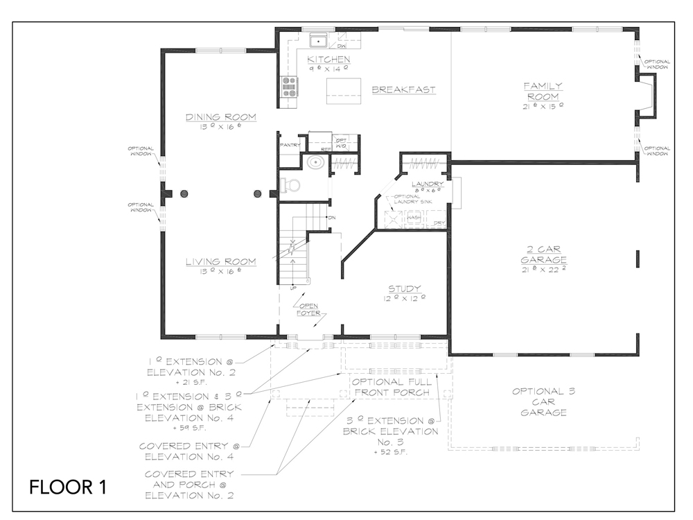 Blueprint for Fairview floor plan floor 1 at new custom home community Sleight Farm in Dutchess County