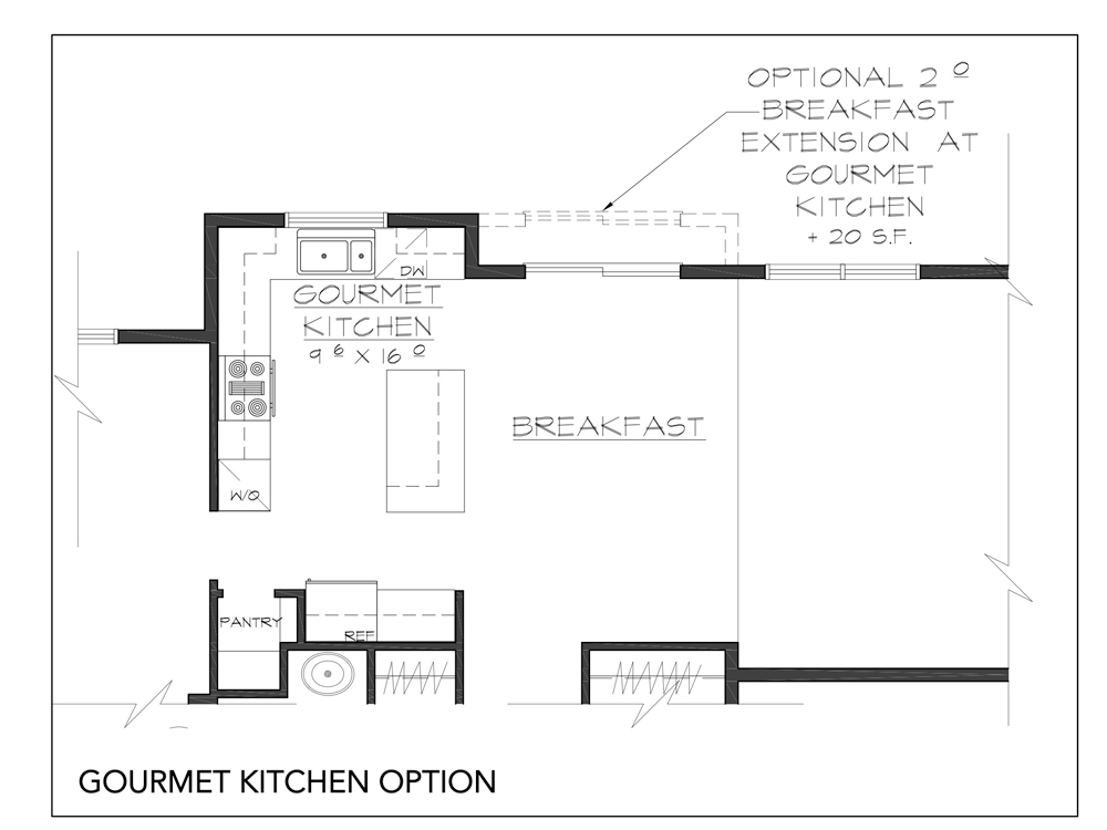 Blueprint for Fairview floor plan gourmet kitchen option at new custom home community Sleight Farm in Dutchess County