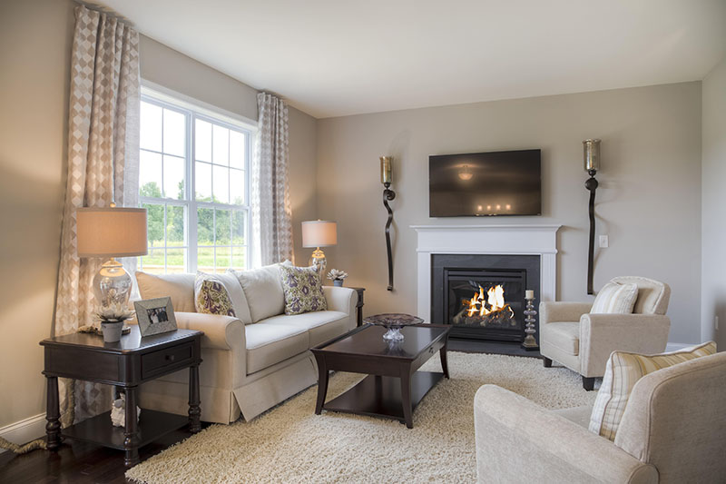 Living room with fireplace at new construction home at Sleight Farm in Upstate NY
