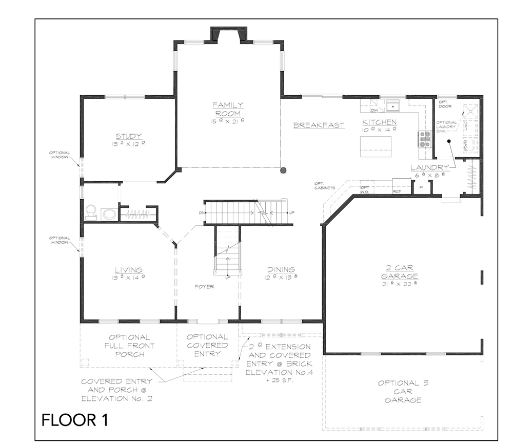 Blueprint for Grove floor plan floor 1 at new custom home community Sleight Farm in Dutchess County