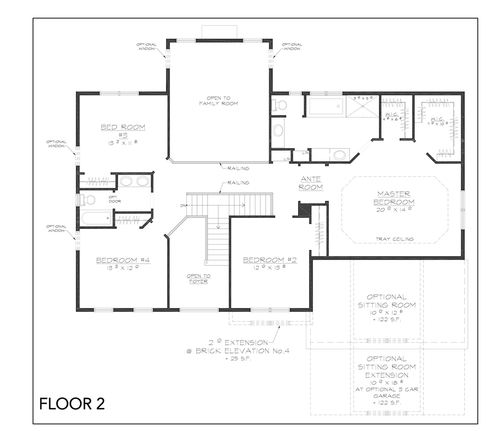 Blueprint for Grove floor plan floor 2 at new custom home community Sleight Farm in Dutchess County