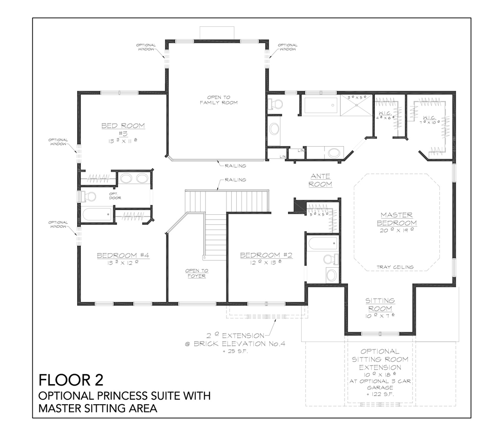 Blueprint for Grove floor plan floor 2 optional princess suite with master sitting area at new custom home community Sleight Farm in Dutchess County