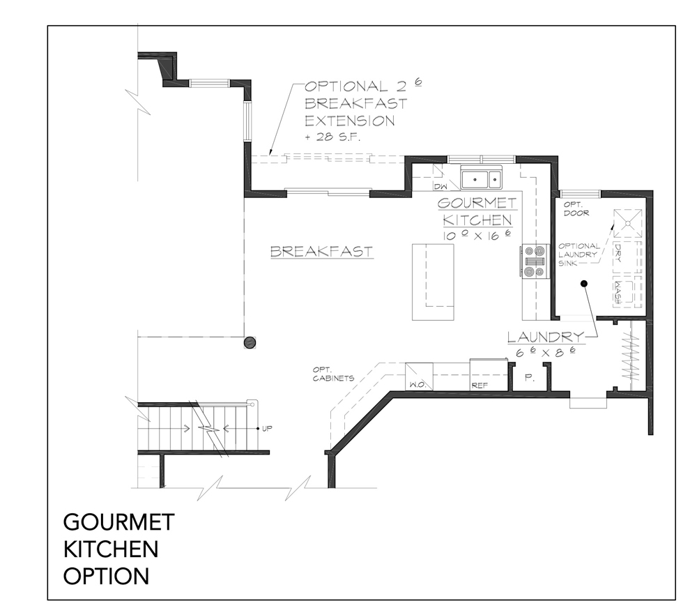Blueprint for Grove floor plan gourmet kitchen option at new custom home community Sleight Farm in Dutchess County