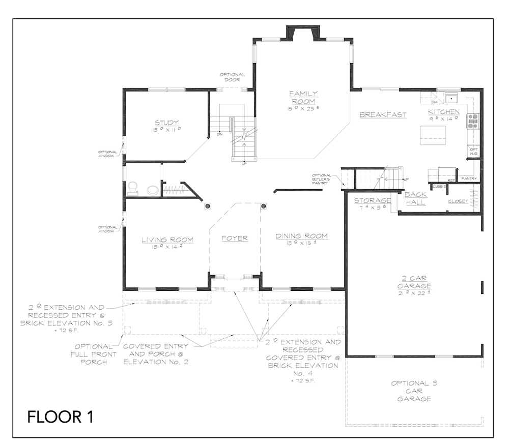 Blueprint for Hudson floor plan floor 1 at new custom home community Sleight Farm in Dutchess County