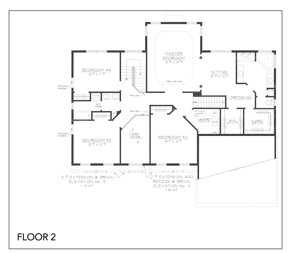 Blueprint for Hudson floor plan floor 2 at new custom home community Sleight Farm in Dutchess County