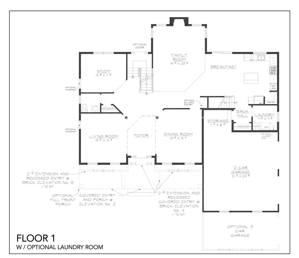 Blueprint for Hudson floor plan floor 1 with optional laundry room at new custom home community Sleight Farm in Dutchess County