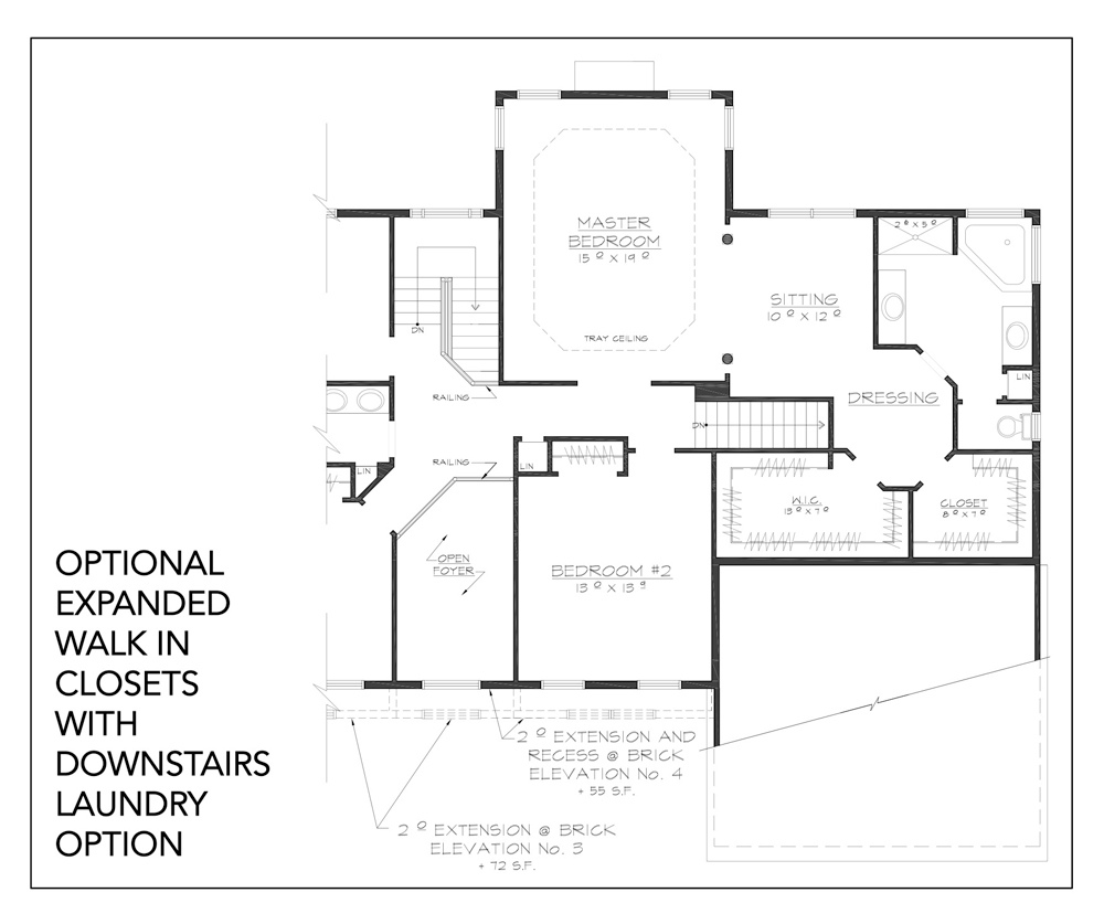 Blueprint for Hudson floor plan optional expanded walk in closets with downstairs laundry option at new custom home community Sleight Farm in Dutchess County