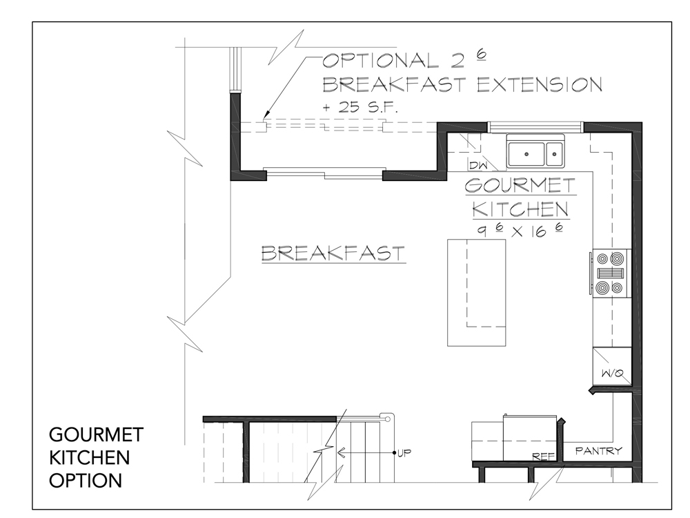 Blueprint for Hudson floor plan gourmet kitchen option at new custom home community Sleight Farm in Dutchess County