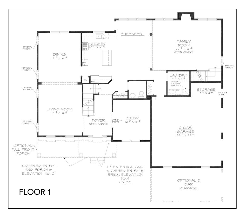 Blueprint Innsbruck floor plan floor 1 at new custom home community Sleight Farm in Dutchess County
