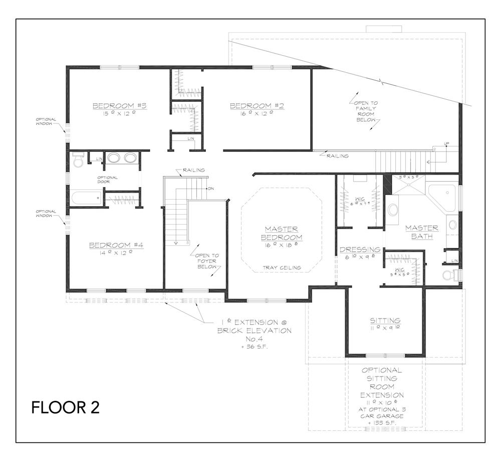 Blueprint for Innsbruck floor plan floor 2 at new custom home community Sleight Farm in Dutchess County