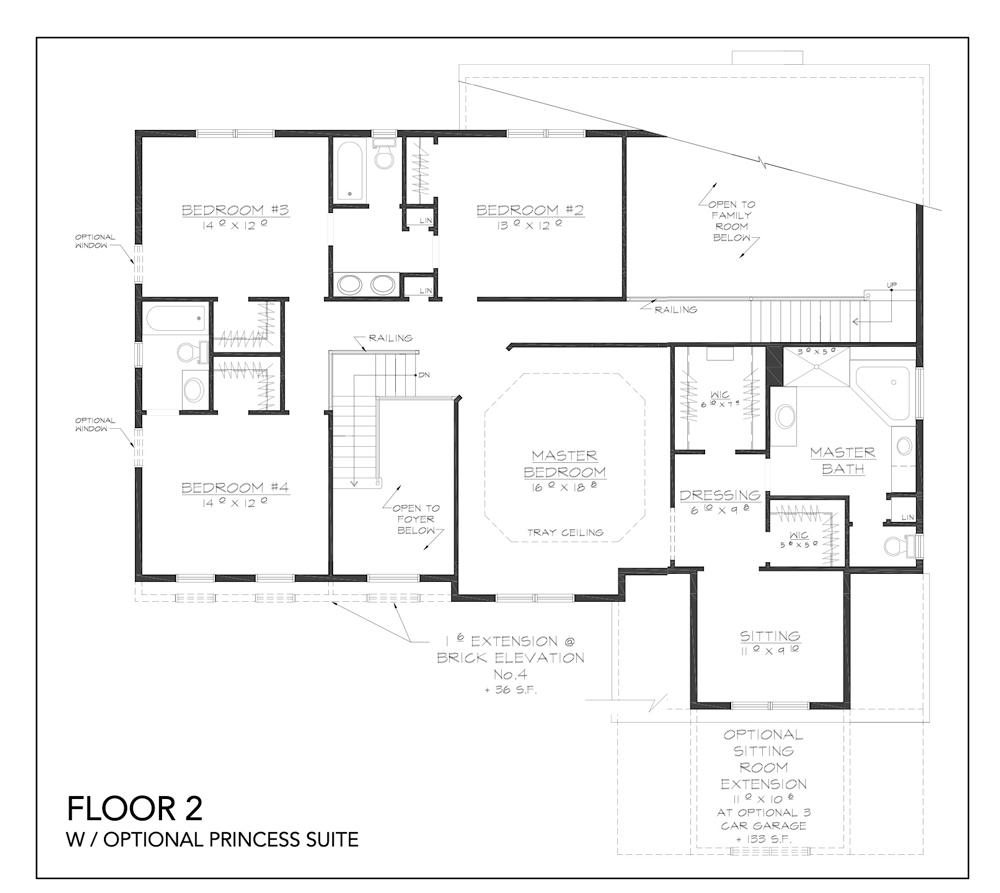 Blueprint for Innsbruck floor plan floor 2 w/optional princess suite at new custom home community Sleight Farm in Dutchess County