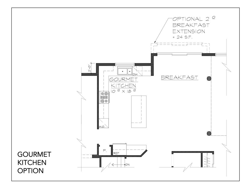 Blueprint for Innsbruck floor plan gourmet kitchen option at new custom home community Sleight Farm in Dutchess County