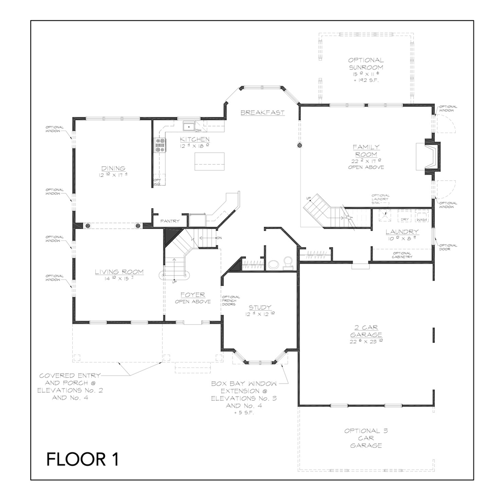 Blue print of Jackson floor plan floor 1 at new custom home community Sleight Farm in Dutchess County