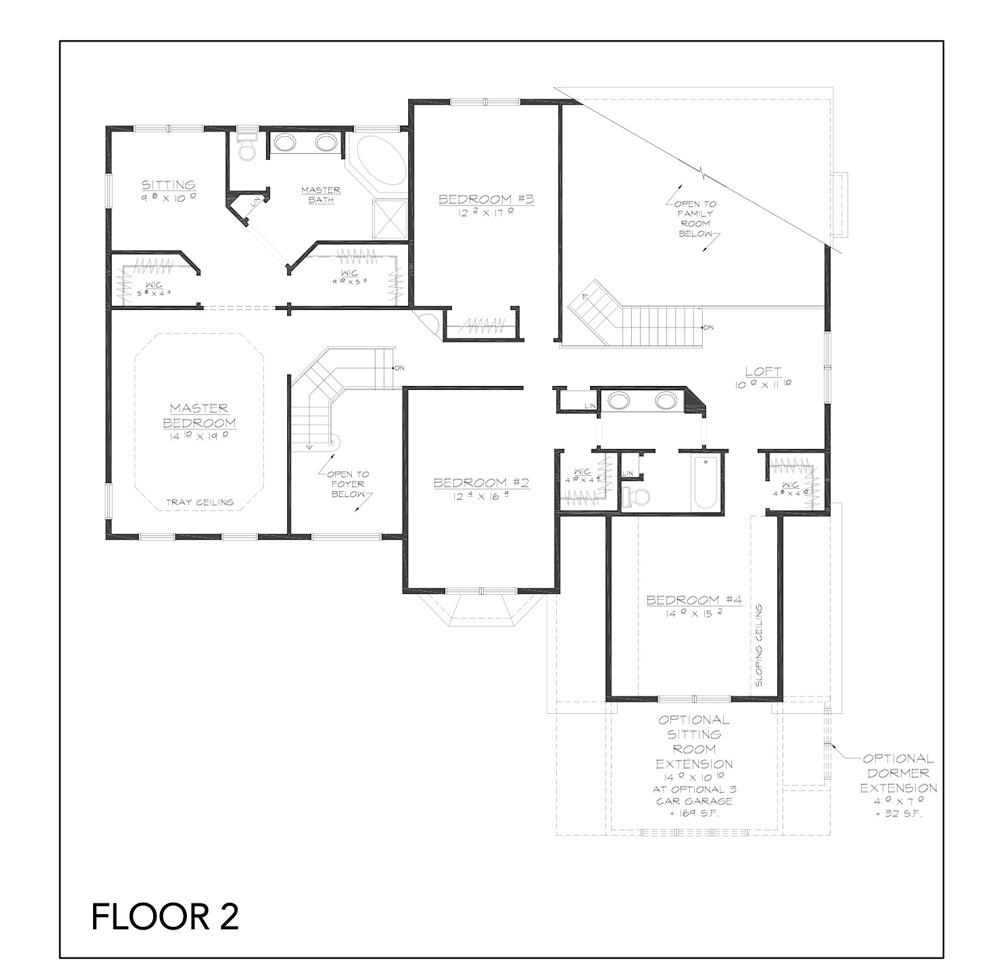 Blueprint of Jackson floor plan floor 2 at new custom home community Sleight Farm in Dutchess County