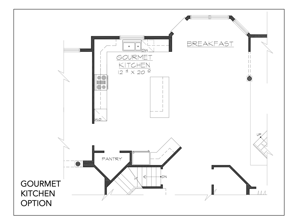 Blueprint of the Jackson floor plan gourmet kitchen option at new custom home community Sleight Farm in Dutchess County