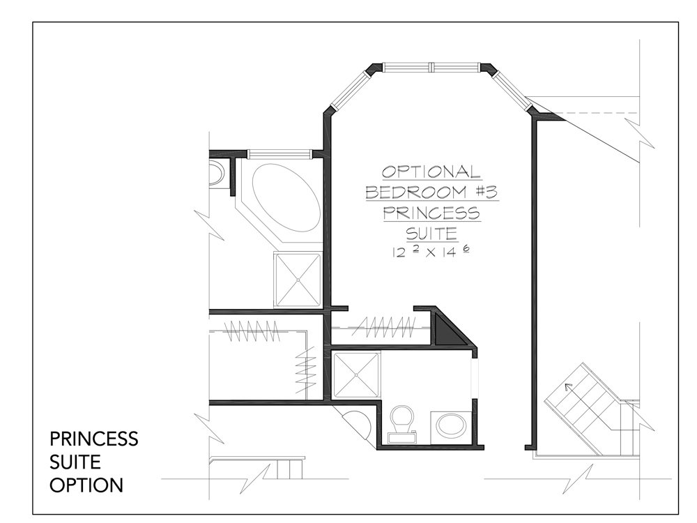 Blueprint of Jackson floor plan princess suite option in our new custom homes at Sleight Farm at LaGrange