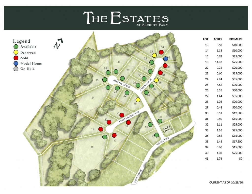Current map of available lots for new homes in Dutchess County community The Estates at Sleight Farm