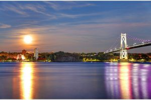 Poughkeepsie and the Hudson River at night